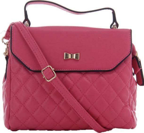 Glam Diva Women Casual Pink Pu Sling Bag