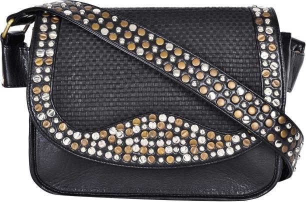 dezerae Women Casual Black PU Sling Bag