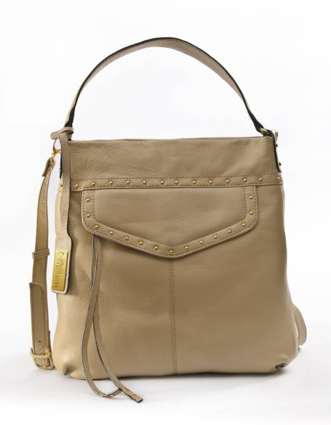 Sophia Visconti Women Casual Beige Genuine Leather Sling Bag