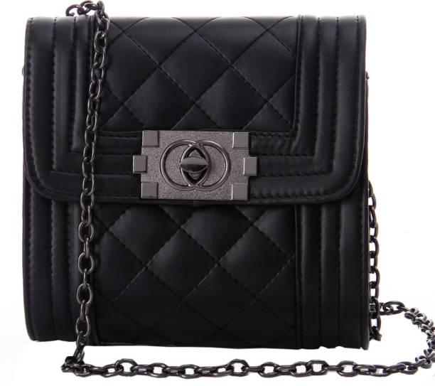 Glam Diva Women Casual Black Pu Sling Bag