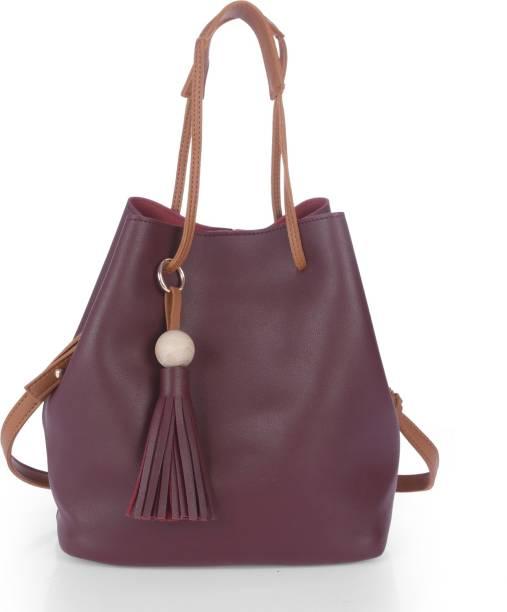 Fur Jaden Women Casual Maroon Pu Sling Bag