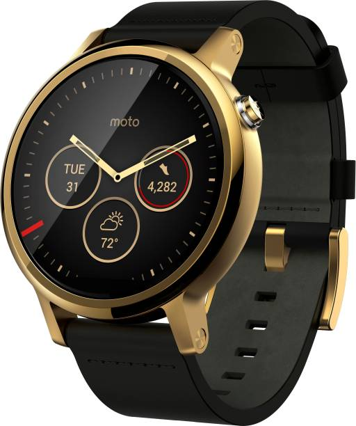 6891f75ff944 Motorola Moto 360 2nd Gen (46 mm) for Men Gold Black Leather Smartwatch