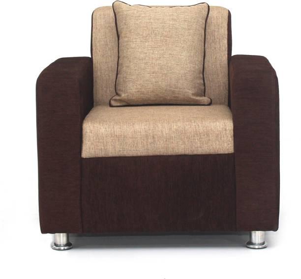 Bharat Lifestyle Tulip 1 Seater Brown Cream Color Fabric 1 Seater  Sofa