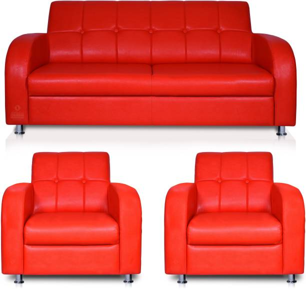 Adorn Homez Atlanta Leatherette 2 + 1 + 1 Red Sofa Set