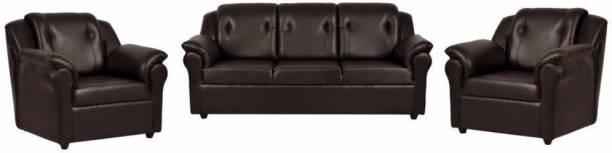 FURNY York Leatherette 3 + 1 + 1 Brown Sofa Set