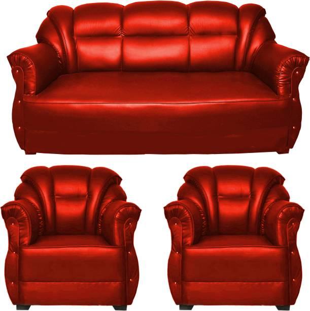 HOMESTOCK Leatherette 3 + 1 + 1 Red Sofa Set