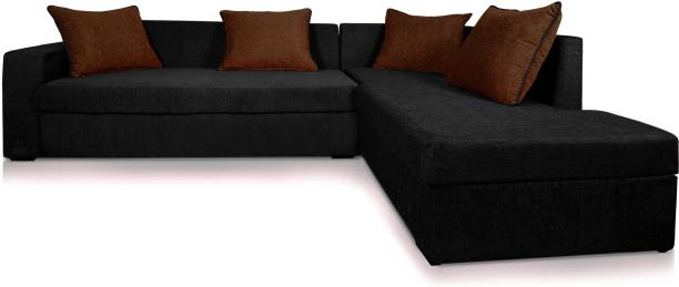 Adorn Homez DOL-CAIRO-L-Black16-Brown 14 Fabric 5 Seater  Sofa