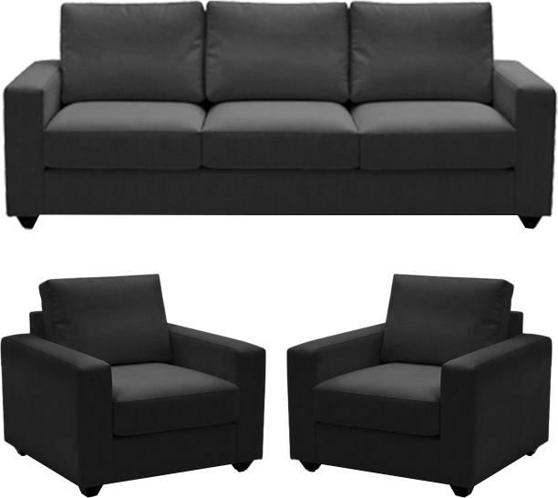Comfy Sofa Fabric 3 1 Dark Grey Set