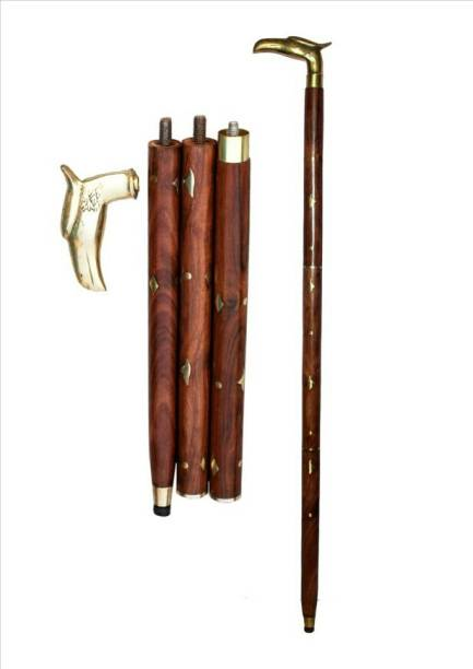 Handicraft Shesham Wood & Brass Made Foldable Royal Walking Stick
