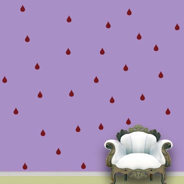Wall Design Rain Drops Wall Pattern Maroon Stickers Set of 84
