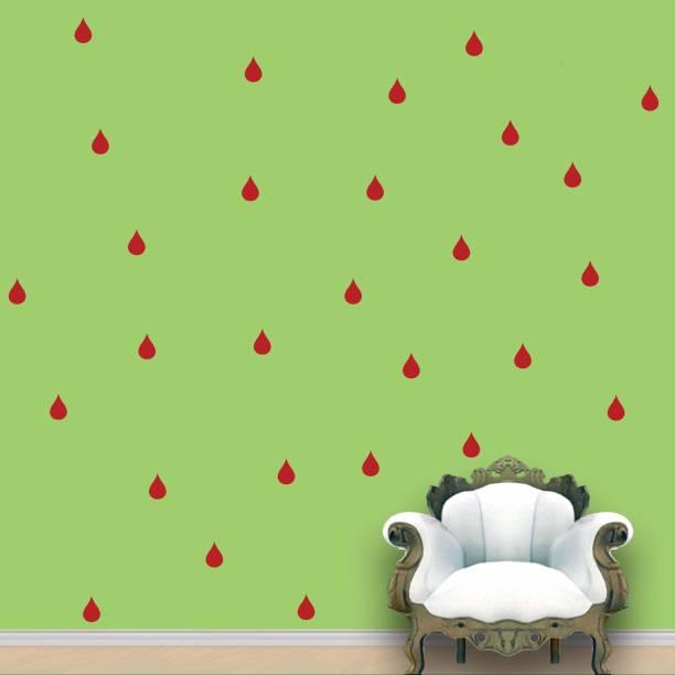 Wall Design Rain Drops Wall Pattern Red Blood Stickers Set of 84