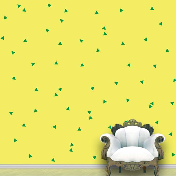 Wall Design Triangle Wall Pattern Green Stickers Set of 120
