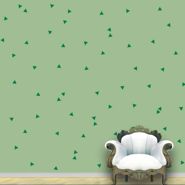 Wall Design Triangle Wall Pattern Green Leaf Stickers Set of 120