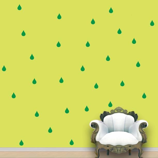Wall Design Rain Drops Wall Pattern Green Stickers Set of 84