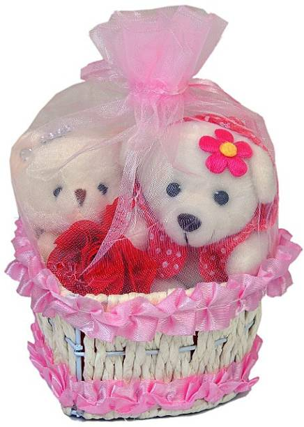 Pingaksh Crafty Collection Pretty Love Couple Teddy Bear With Lovely Basket For Your Valentine Girlfriend
