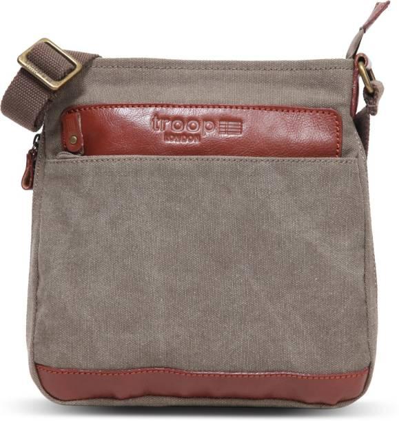 Troop London Vertical Messenger Bag Trp0205 Brown Medium Check In Luggage