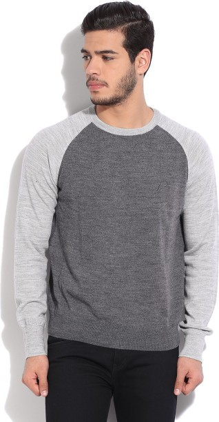 Nautica Solid Round Neck Casual Men Grey Sweater