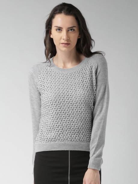 850beb013 Mast & Harbour Self Design Round Neck Casual Women Grey Sweater