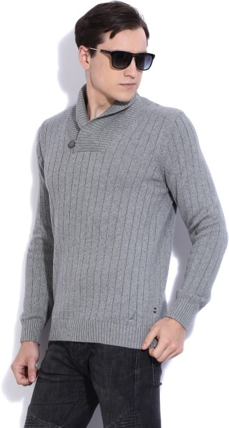 Nautica Self Design Cowl Neck Casual Men Grey Sweater