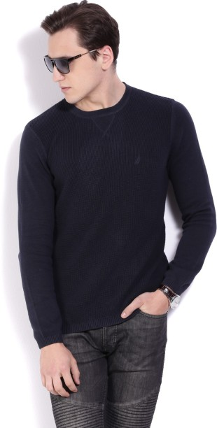 Nautica Self Design Crew Neck Casual Men Dark Blue Sweater