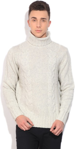 Nautica Self Design Casual Men White Sweater