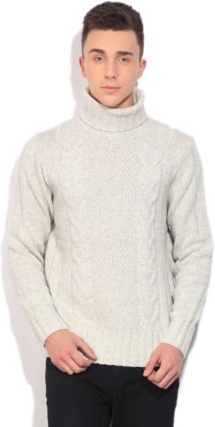 Nautica Self Design Casual Men White Sweater