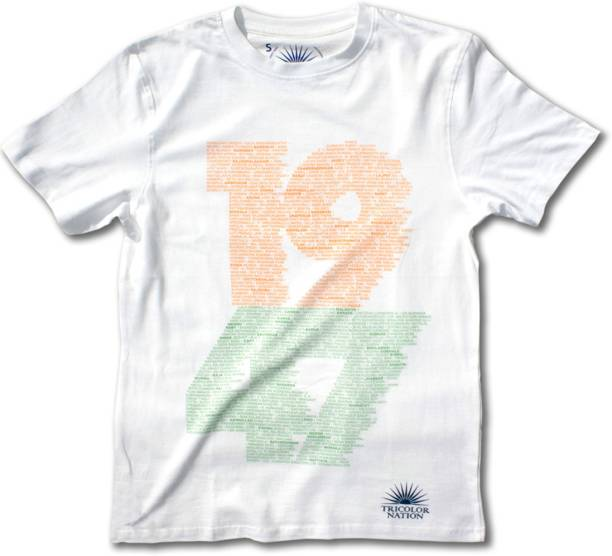 a950c5b04e Tricolor Nation Graphic Print Men's Round Neck White, Orange, Green T-Shirt