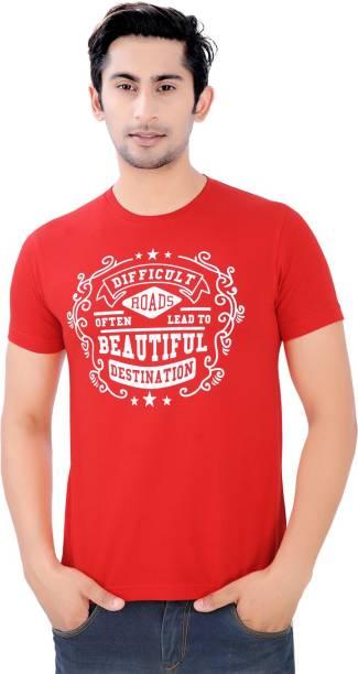 Cotton-Rush Graphic Print Men Round Neck Red T-Shirt