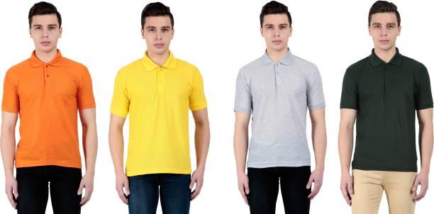 753299802304 Vestiario Solid Men s Polo Neck Multicolor T-Shirt