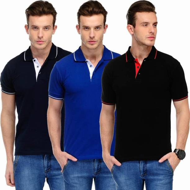 0f5f9021 Scott International Solid Men's Polo Neck Black, Blue, Dark Blue T-Shirt
