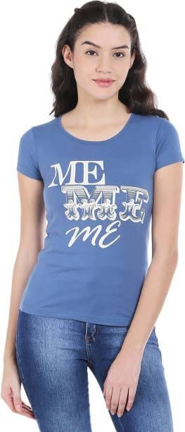 Style Quotient By Noi Printed Women s Round Neck Blue T-Shirt f8fdfd9de