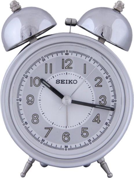 Seiko Analog Silver Clock