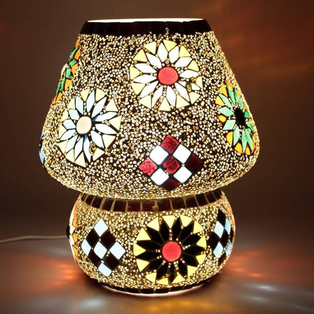 EarthenMetal Handcrafted Crystal Decorated Floral Design Dome Shaped Glass Table Lamp