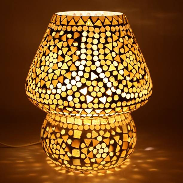 EarthenMetal Handcrafted Almond Brown Coloured Crystal Dome Shaped Glass Table Lamp