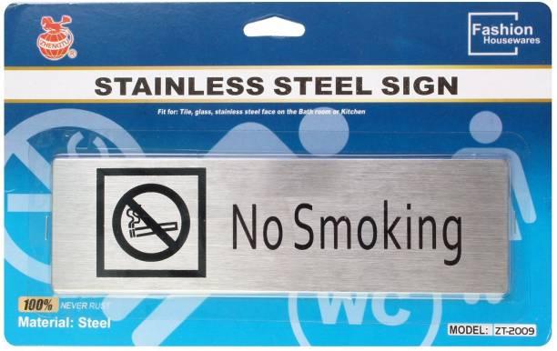 ZHENGTU Self Adhesive Stainless Steel No Smoking Metal Signage Board Sign
