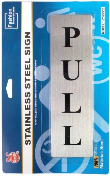 ZHENGTU Self Adhesive Stainless Steel PULL Metal Signage Board Sign