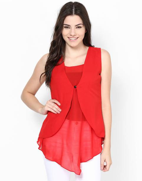 464527bc6d5d5d Athena Casual Sleeveless Solid Women s Red Top