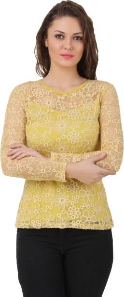 e4499fdf44892 Texco Party Full Sleeve Self Design Women s Yellow Top