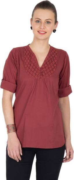 U&F Casual Roll-up Sleeve Solid Women's Maroon Top