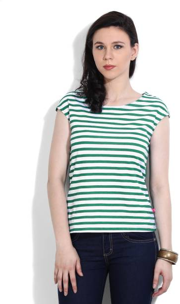 80a5ad73181a United Colors of Benetton Casual Sleeveless Striped Women White, Green Top