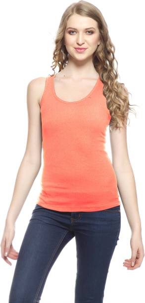 ea416356251c63 Friskers Casual Sleeveless Solid Women s Orange Top
