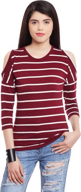 1e87241644da29 Hypernation Casual 3 4th Sleeve Striped Women s Maroon