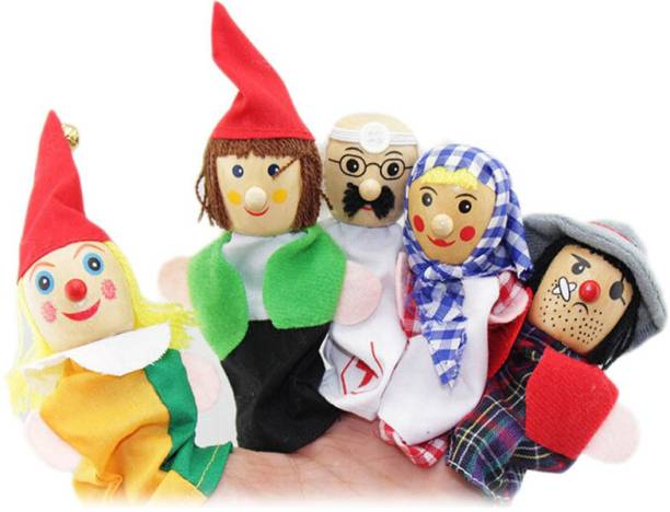Kuhu Creations Career Professional's Finger Puppet Wooden Baby Education Story Play Toy Doll Finger Puppets
