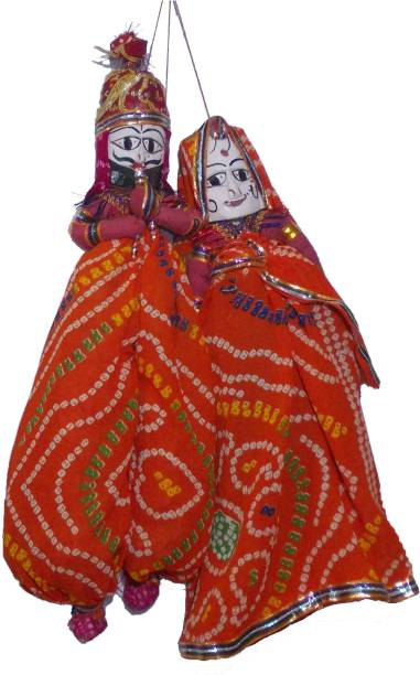 Craft Expo Handcrafted Orange Puppets/Kathputli Pair For Kids & Home Decor Marionettes