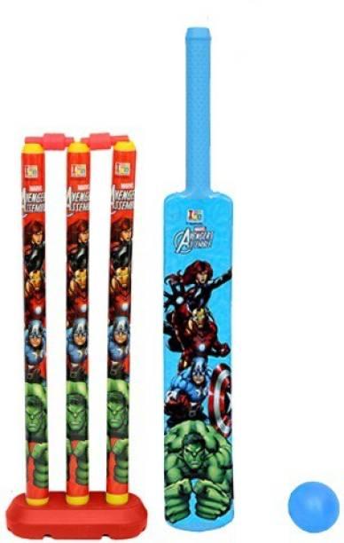 MARVEL Avengers Large Size Bat, Stumps and Ball Cricket Kit