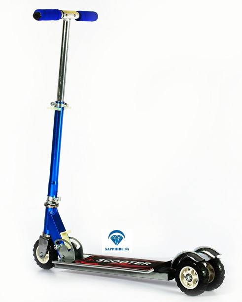 SAPPHIRE SA Heavy Metallic Big Size 3 Wheel Height Adjustable Kids Folding Scooter - Blue Tricycle