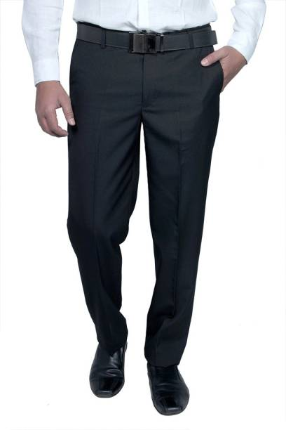 ce8930d34e2a8 Routeen Slim Fit Men s Black Trousers