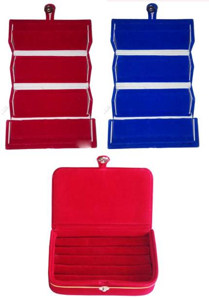 Abhinidi Set Of 3 Velvet Case Ring And Earring Storage Travelling Folder Jewellery Vanity Box