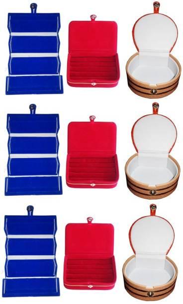 1d22c13007 Abhinidi Combo of 9 velvet case Ring and Earring storage travelling Folder  Jewellery Vanity Box
