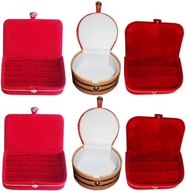 5207918969 Abhinidi Combo of 6 velvet case Ring and Earring storage travelling Folder  Jewellery Vanity Box